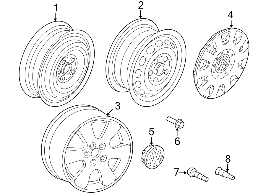 Diagram WHEELS. for your 2003 Volkswagen Beetle